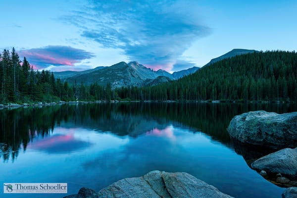 Stunning blue-hour light captured at Bear Lake in Rocky Mountain National Park, Colorado/Luxurious fine art scenic landscape photography decor prints