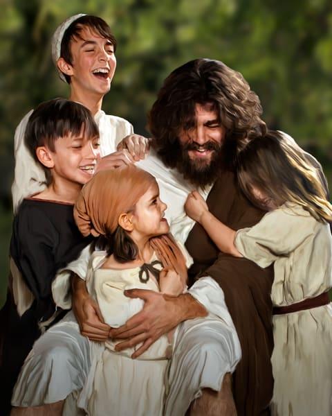 Joyous Jesus rough housing with kids