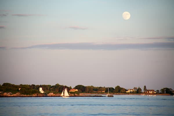 Lighthouse, Ten Pound Island, Gloucester, Full Moon