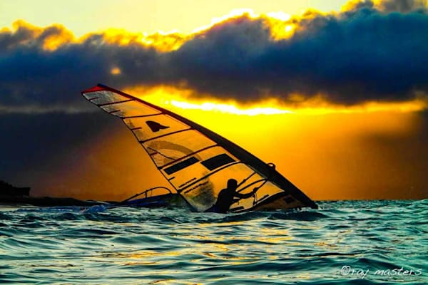 Windsurfer At Sunset Art | Ray Masters Productions