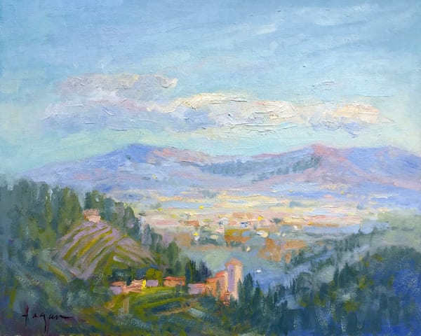 Small Tuscan Landscape,Vineyards, Original Oil Painting by Dorothy Fagan