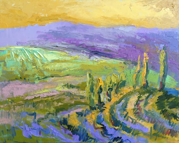 Tuscan Vineyards Landscape Art Print Painting on Canvas Fertile Fields by Dorothy Fagan