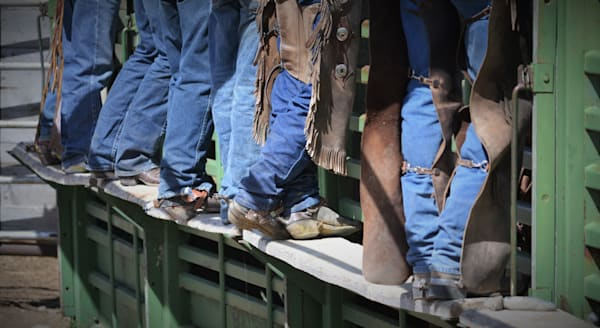 Photograph of cowboys at the bucking chute for sale as Fine Art