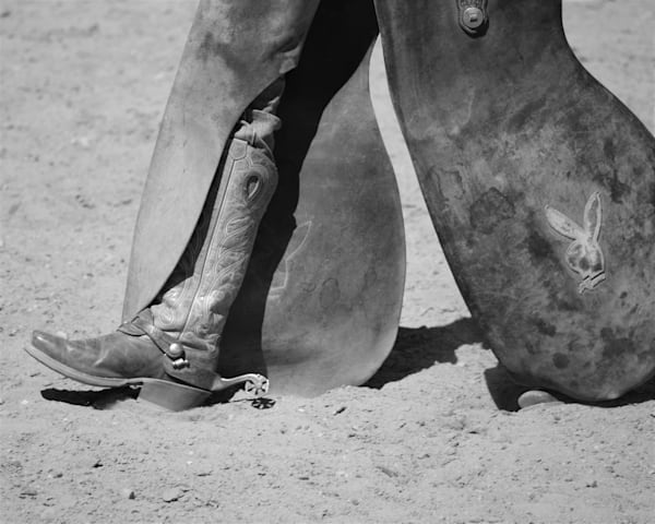 Black and White photograph of a cowboy's chaps for sale as Fine Art