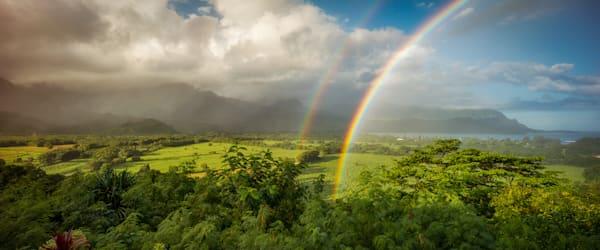 """Hanalei Double Rainbow"" - Panoramic"