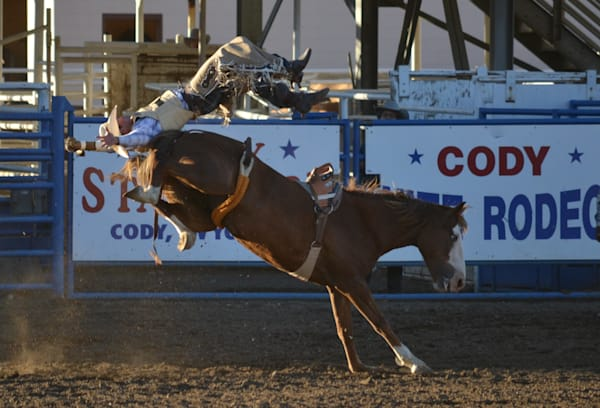 Photograph of a cowboy in midair after being bucked off for sale as fine art