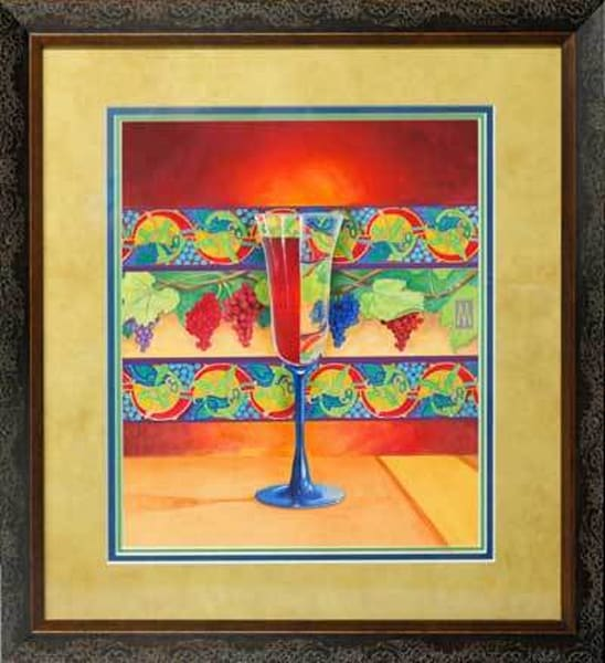 Wine Glass Half Full   Original Framed Art | Melissa A Benson Illustration