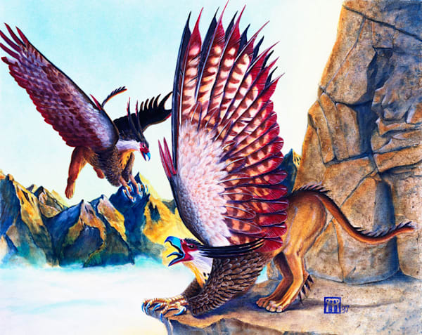 Griffins on Cliff at Dawn