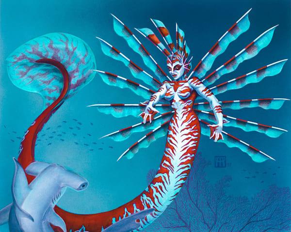 Mermaid With Hammerhead Shark   Original Art | Melissa A Benson Illustration