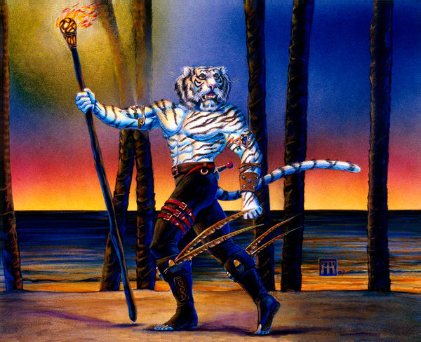 Werecat with Torch at Sunset