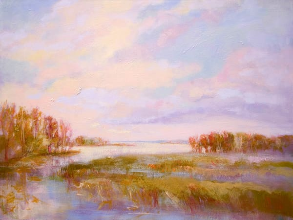 Golden View   Water Landscape Painting