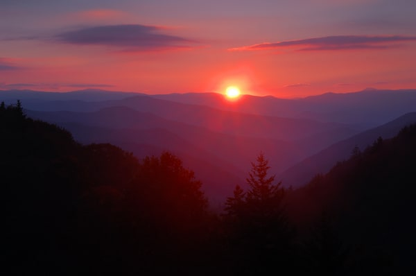 Sunrise over the Oconaluftee Valley