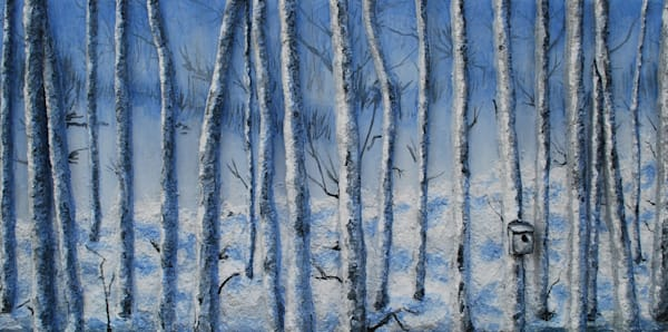 Original winter landscape bas-relief fusion art painting by Alison Galvan titled Quiet Snowfall.
