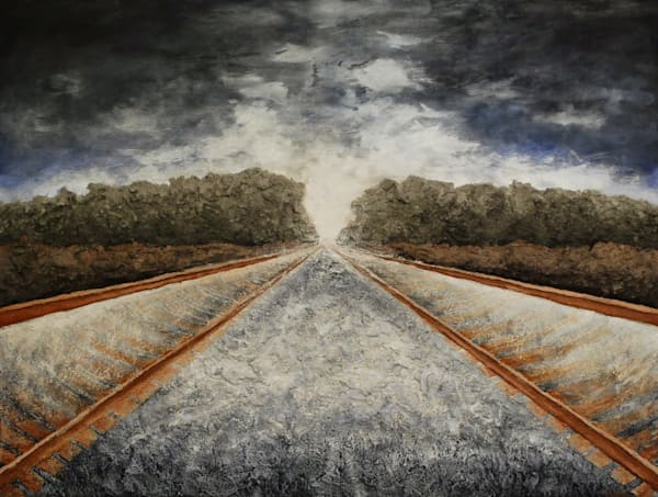 Racing Towards Possibilities, an Original fine art bas-relief fusion art railroad landscape painting.