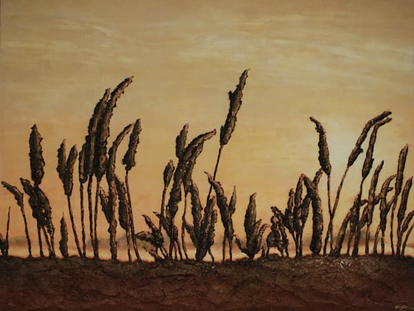 Morning on the Marsh, an original bas-relief fusion art landscape painting by artist Alison Galvan