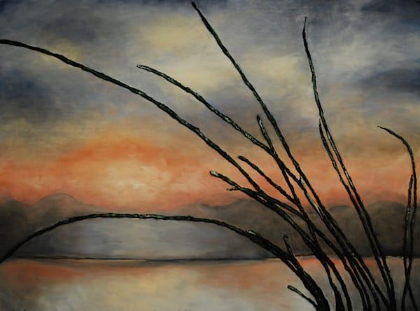 Blue Sunset original fusion art fine art landscape acrylic painting by artist Alison Galvan