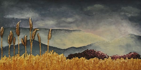 Original fine art by artist Alison Galvan, The View from the Field, bas-relief fusion landscape art.