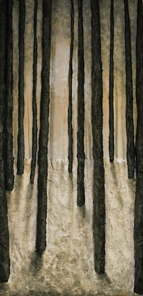 Original Landscape Bas-Relief Fusion Art Painting titled Winter Woods by Alison Galvan