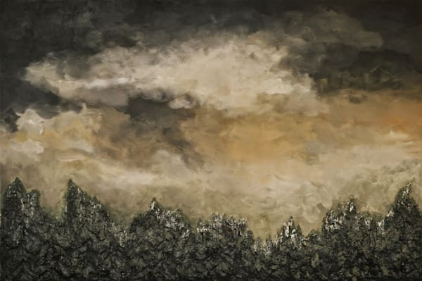 Storm Over the Wood Original bas-relief fusion art landscape painting by Alison Galvan