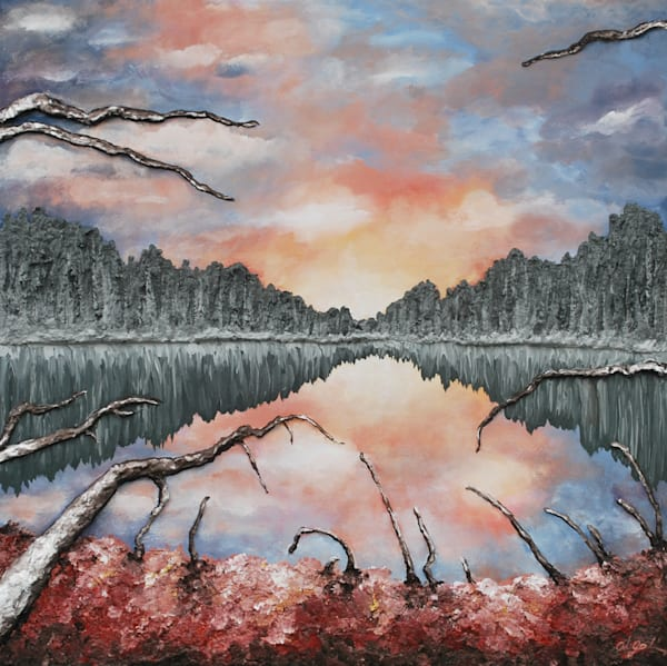 Lake Reflections, an Original fine art bas-relief fusion art landscape painting by Alison Galvan
