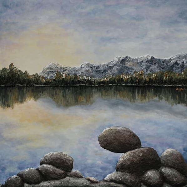 Print of Sunlight on the Rocks, a fusion art landscape painting by Alison Galvan