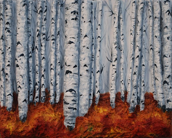 Autumn Aspens Prints on Canvas, Fine Art Paper, Metal or Wall Decals. Alison Galvan's fusion art of sculpture and acrylic painting available now in prints.