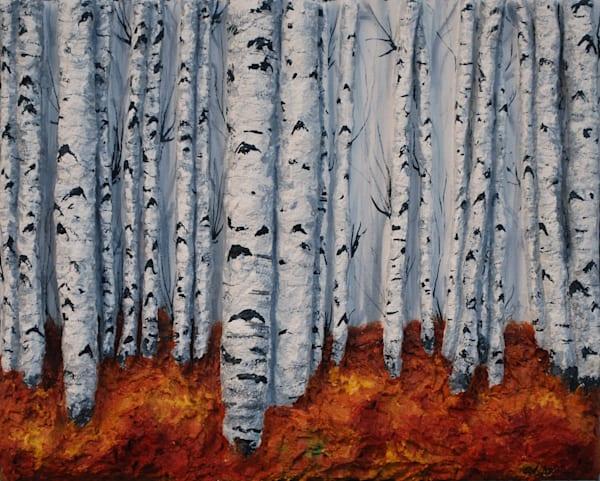 Original Autumn Aspens Landscape Fusion Art Bas-Relief Art by Artist Alison Galvan