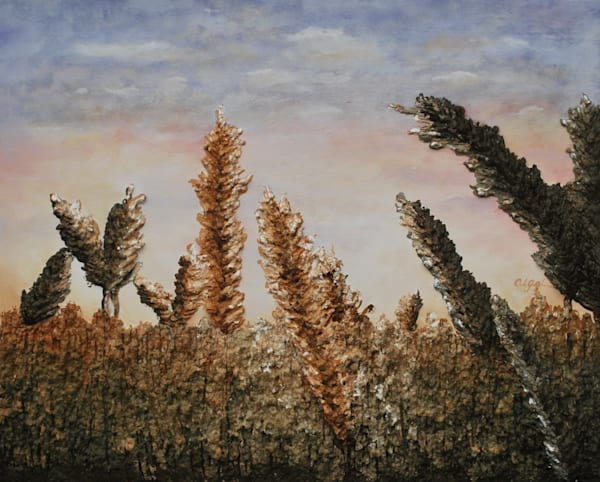 Prints of Spring Wheat, a fusion art fine art landscape painting by Alison Galvan