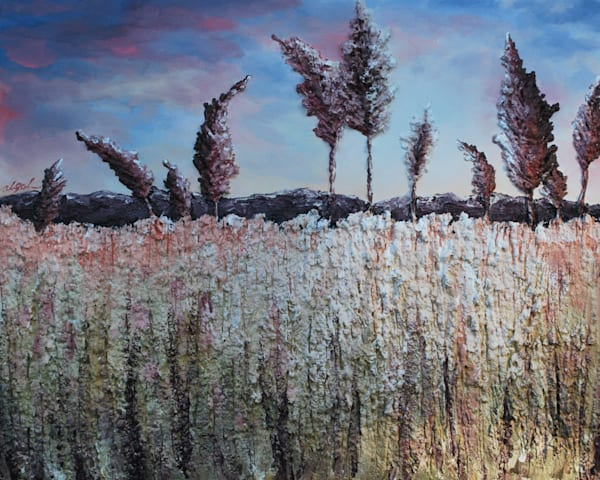 Summer Wheat fusion art print of Alison Galvan's fine art acrylic landscape painting