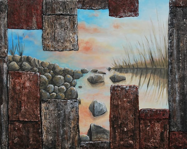 Morning on the Rocks, a low-relief architecture and landscape painting fusion art by artist Alison Galvan