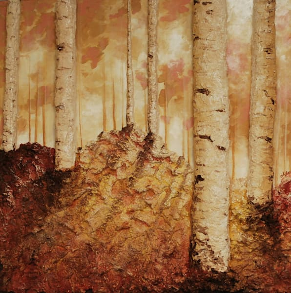 Autumn Birch Landscape Painting art print of artist Alison Galvan's Fusion Art