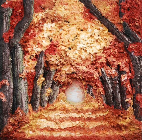 Autumn Canopy Landscape Print of a Mixed Media Bas-Relief Fusion Art  piece by Fine Artist Alison Galvan