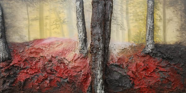 Sunlight filters through the trees of artist Alison Galvan's fusion art landscape painting titled Diffusion
