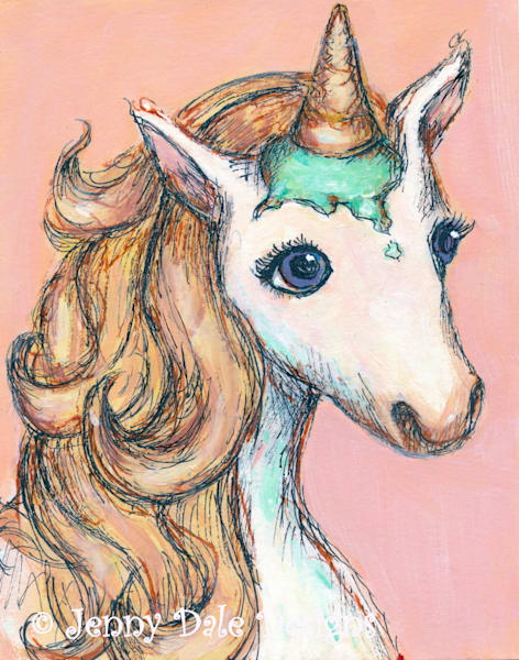 Ice Cream Unicorn: Peach background