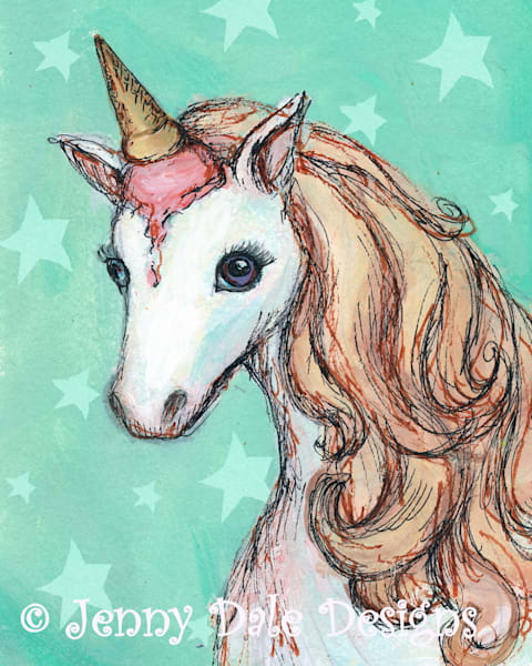 Ice Cream Unicorn: Mint background with stars