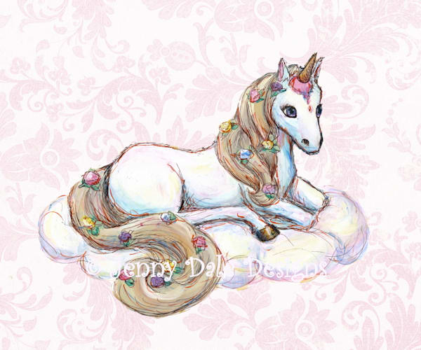 Ice Cream Unicorn: Sitting, pink floral background