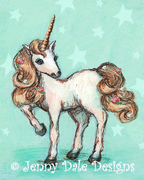 Pretty Unicorn: Mint Background with Stars