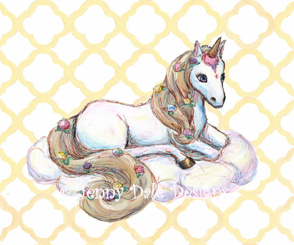 Ice Cream Unicorn: Sitting, yellow background