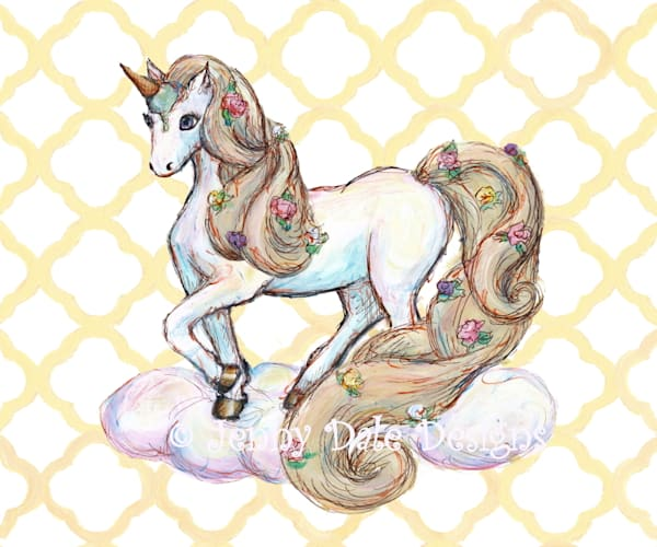 Ice Cream Unicorn: Standing, yellow background