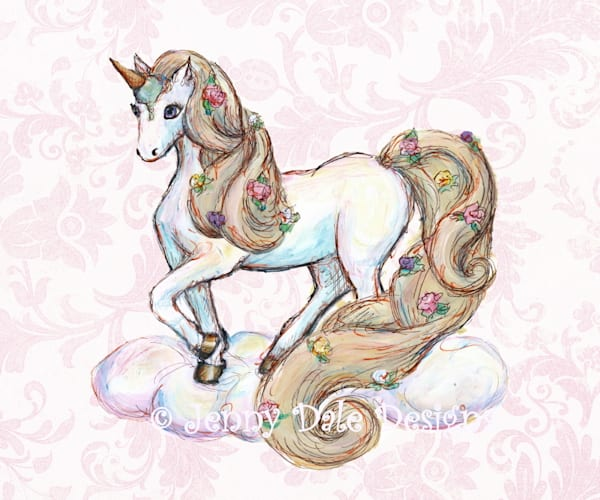 Ice Cream Unicorn: Standing, pink floral background
