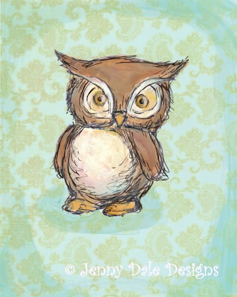 Little Brown Owl: Staring Owl, mint background