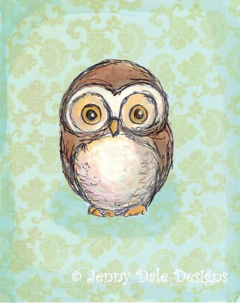 Little Brown Owl: Round Head Owl, mint background