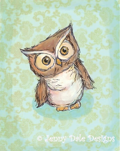 Little Brown Owl: Owl Tilting head, mint background