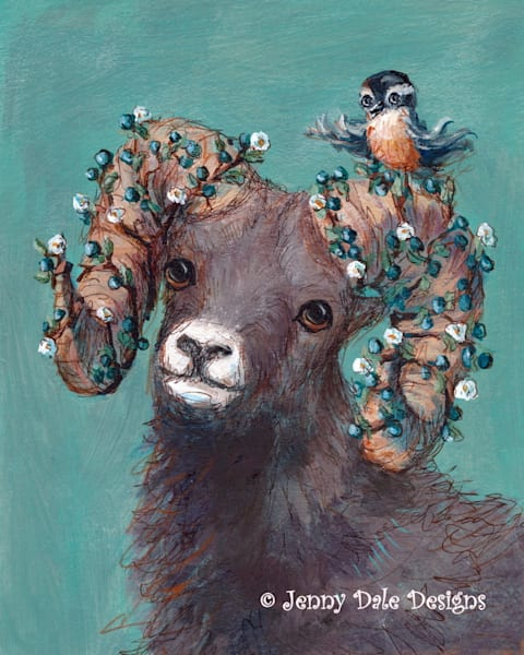 Bighorn Sheep with bird Rocky Mountain Animal Art