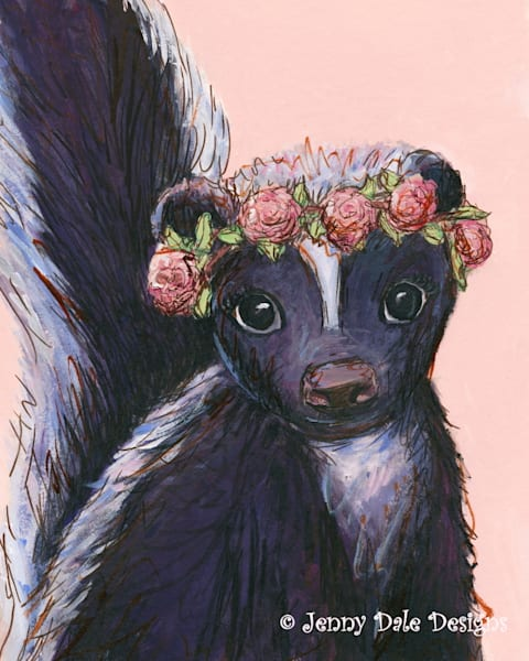 Skunk wearing rose flower crown, pink background