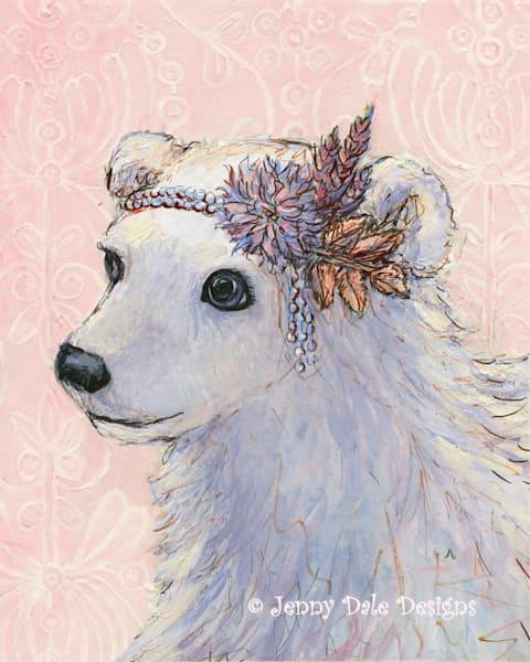Vintage Style Polar Bear (pink background)