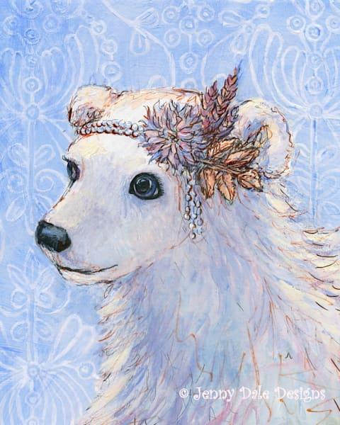Vintage Style Polar Bear (blue background)