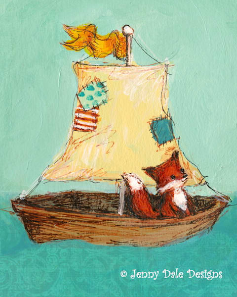 Fox Sails Away Art   Jenny Dale Designs