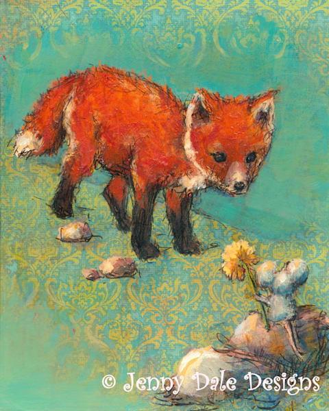 Fox Meets Mouse Art   Jenny Dale Designs