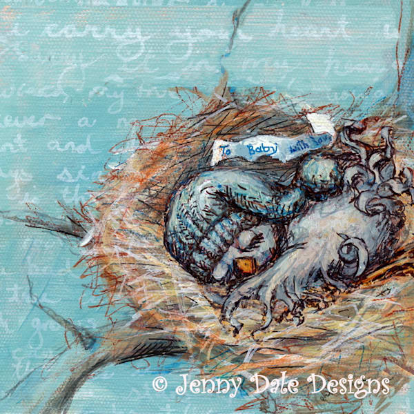 Baby Bird in Nest: Square with Blue background